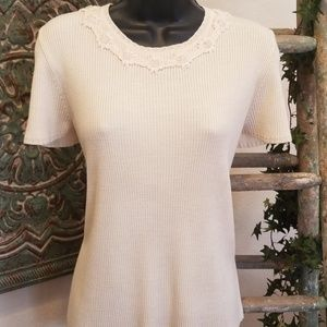Alfred Dunner crochet detail sweater